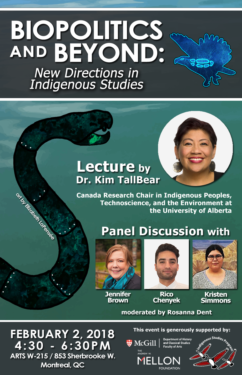 Poster for Feb. 2, 2018 ISP event - Biopolitics and Beyond: New Directions in Indigenous Studies, lecture and panel discussion