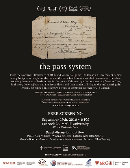 "poster for the public screening of ""the Pass System"""