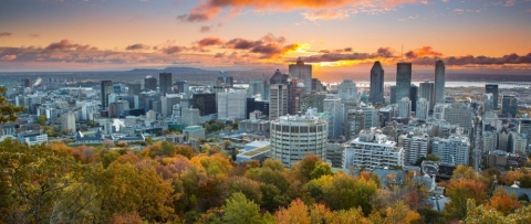 A view of downtown Montreal during a sunset