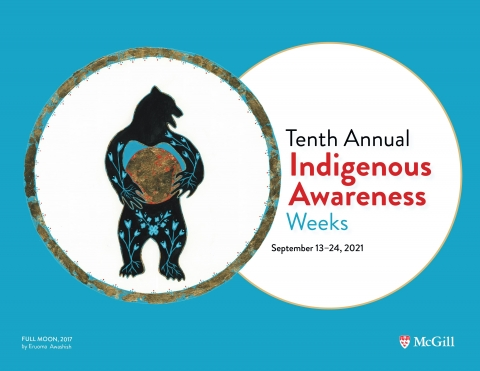 A poster for Indigenous Awareness Weeks featuring a bear against a blue background