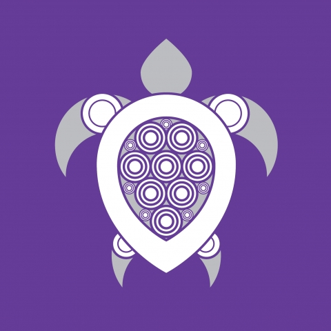 A white turtle symbol against a purple background