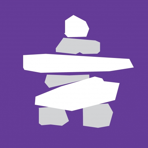 A white inuksuk symbol against a purple background