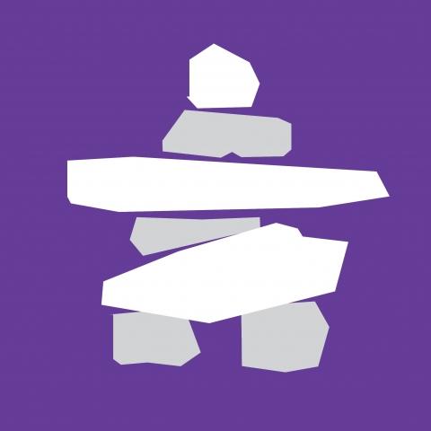 A white inuksuk symbol against a purple background