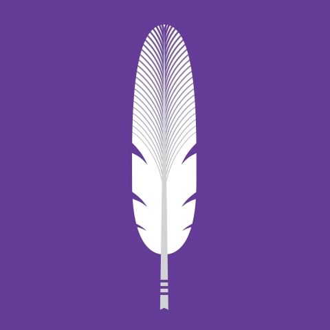 A white feather symbol against a purple background