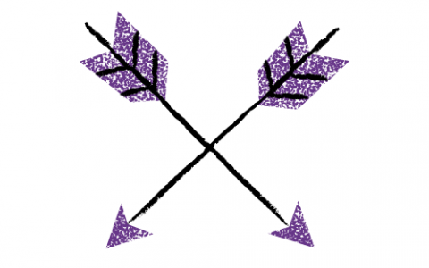 A drawing of purple and black arrows against a white background