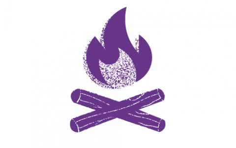 A drawing of a purple campfire with a flame and two logs on a white background