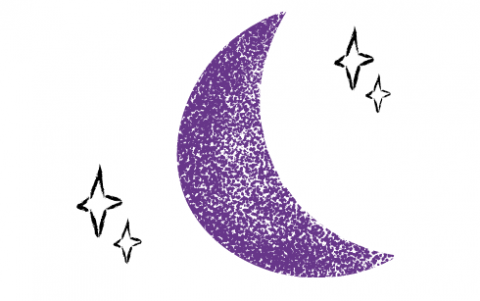 A drawing of a purple moon and stars against a white background