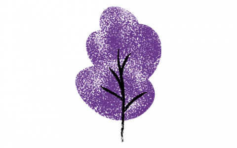 A drawing of a purple and black tree against a white background