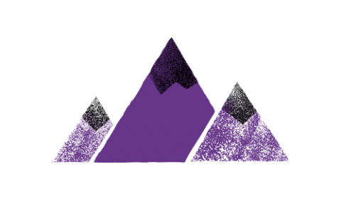 A drawing of purple and black mountains against a white background
