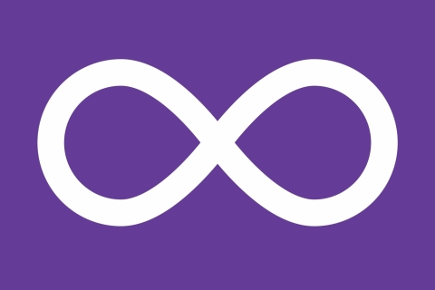 The Metis symbol, a horizontal infinity sign, in white against a purple background