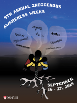 The poster for the 9th Annual Indigenous Awareness Week, featuring a symbolic drawing