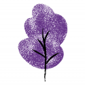 A drawing of a purple tree on a white background.