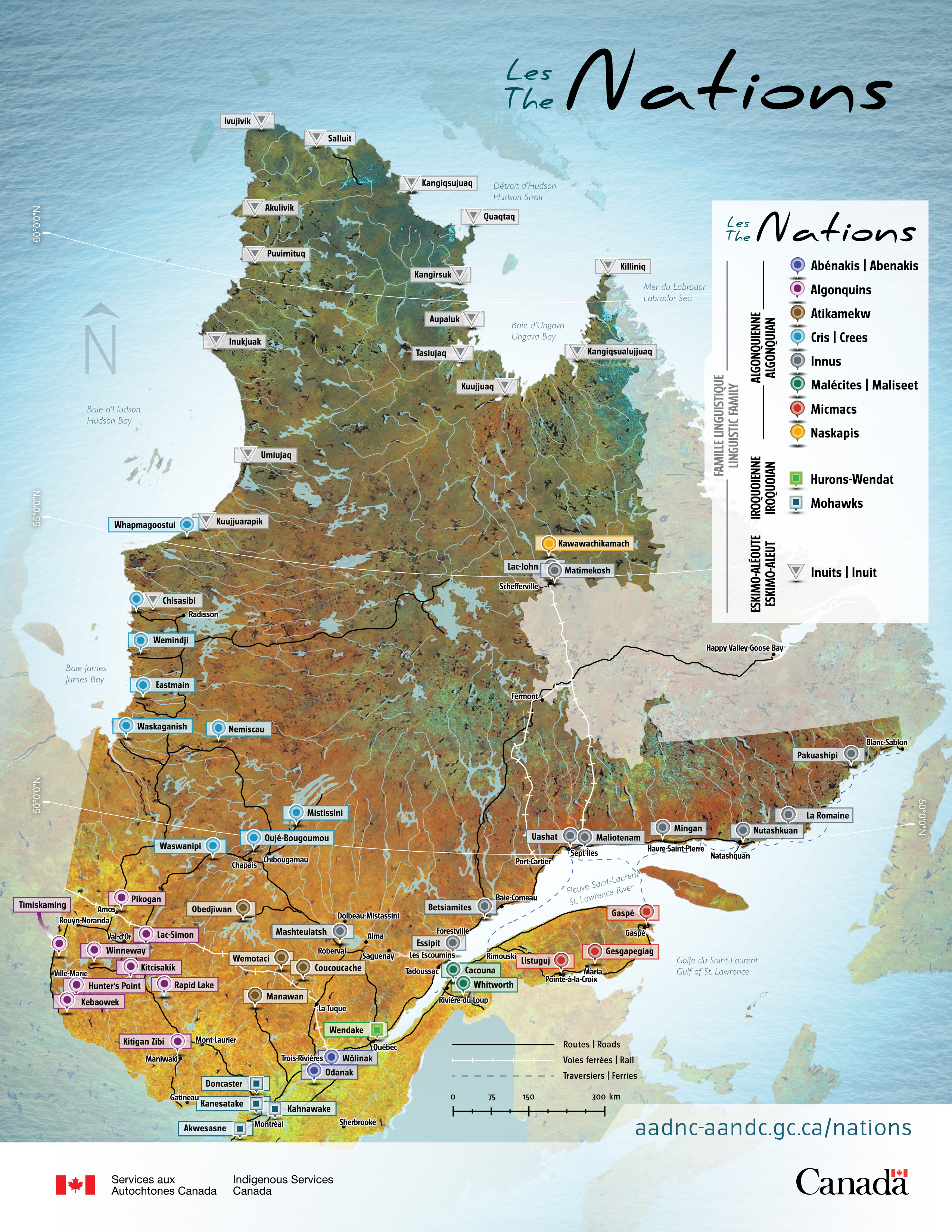 A map from Indigenous Services Canada showing Indigenous territory in the region now known as Quebec.