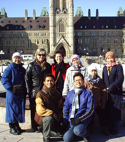 In front of the Parliament Buildings in Ottawa, just after they arrived.