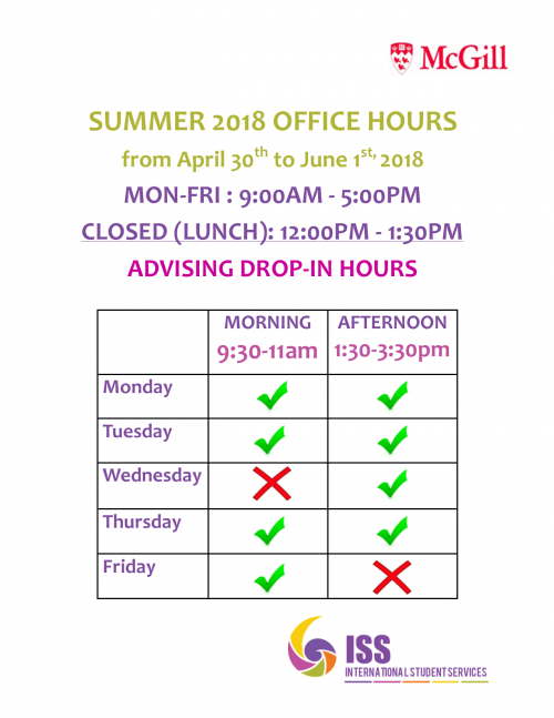 ISS Summer Drop-In Hours