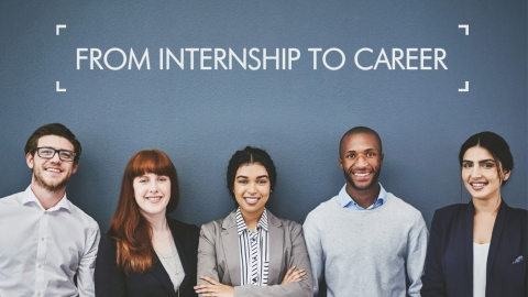 A poster image with five smiling interns dressed in smart-casual attire
