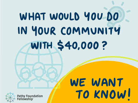 Text: What would you do in your community with 40,000$?