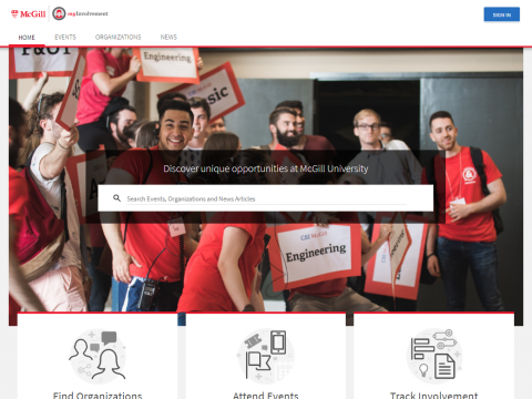 A photo of the myInvolvement homepage