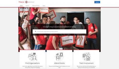 Screenshot of myInvolvement portal landing page