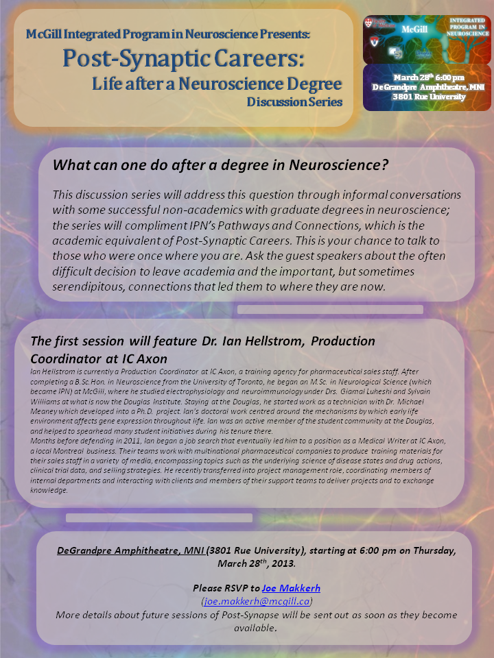 Post-Synaptic Careers - Life after a Neuroscience Degree (A