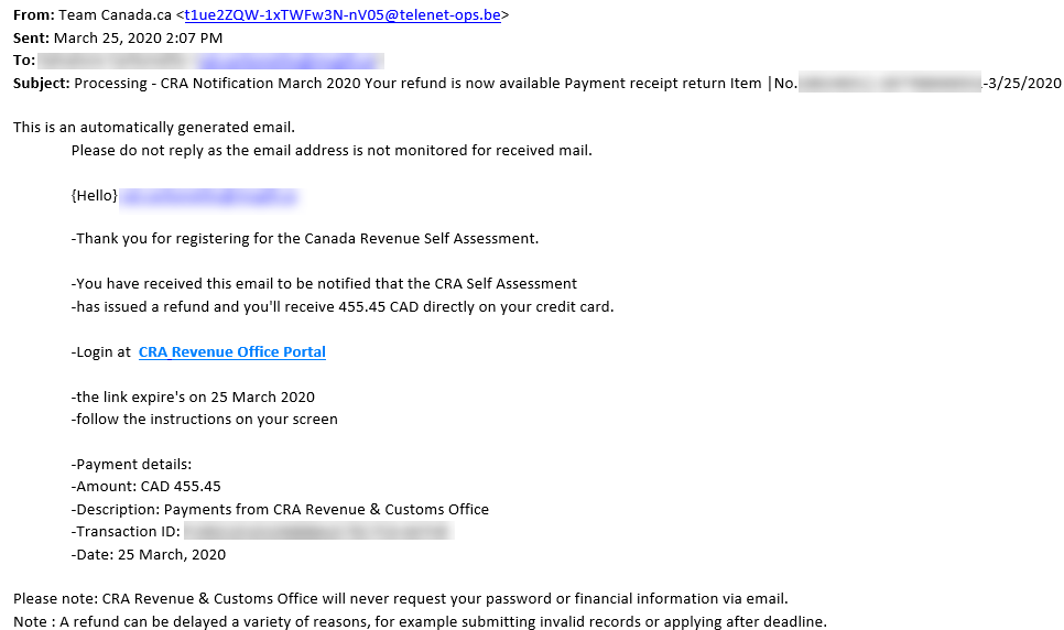 Phishing Scam Processing Cra Notification Your Refund Is Now Available It Services Mcgill University