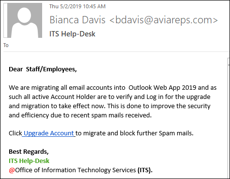Phishing scam: Outlook Web App 2019 upgrade | IT Services - McGill