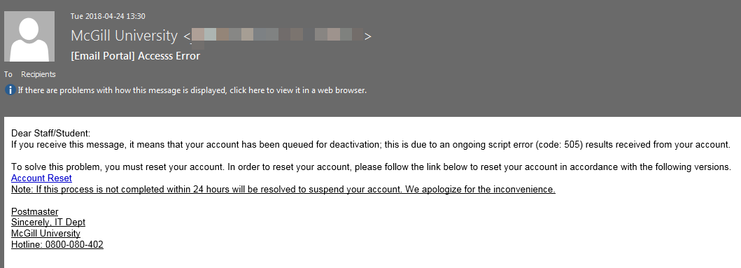 Phishing scam: