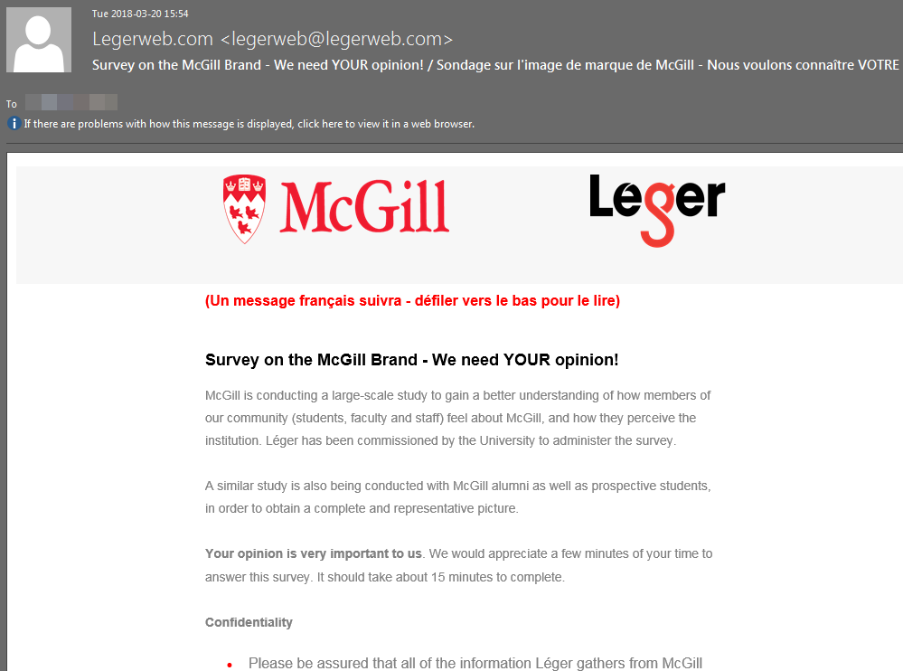 Screen caption of the Leger survey email sent to all McGill staff and students