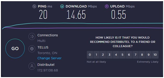 Screenshot of results from speedtest.net, showing ping, download and upload speed and ISP information