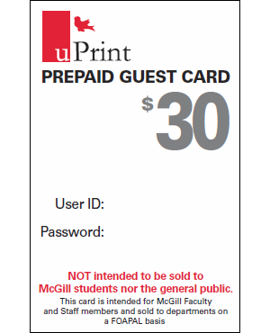 uPrint Prepaid Guest Card