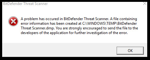 BitDefender Threat Scanner error message