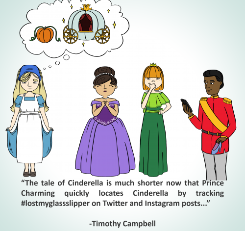 The tale of Cinderella is much shorter now that Prince Charming quickly locates Cinderella by tracking #lostmyglassslipper on twitter and instagram posts...