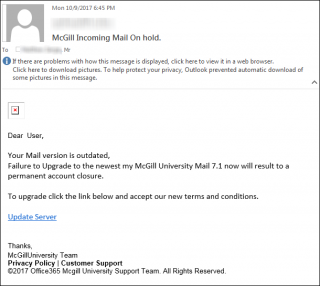 phishing scam mcgill incoming mail on hold it services mcgill university. Black Bedroom Furniture Sets. Home Design Ideas