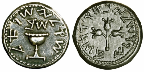 Ancient jews coins dated from the  Jewish revolt against the Roman Empire (66-70CE)