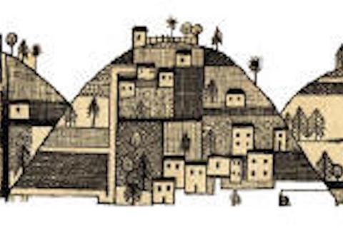 drawing of the Judean Hills (near Jerusalem)