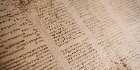 Ancient Torah scroll in Hebrew
