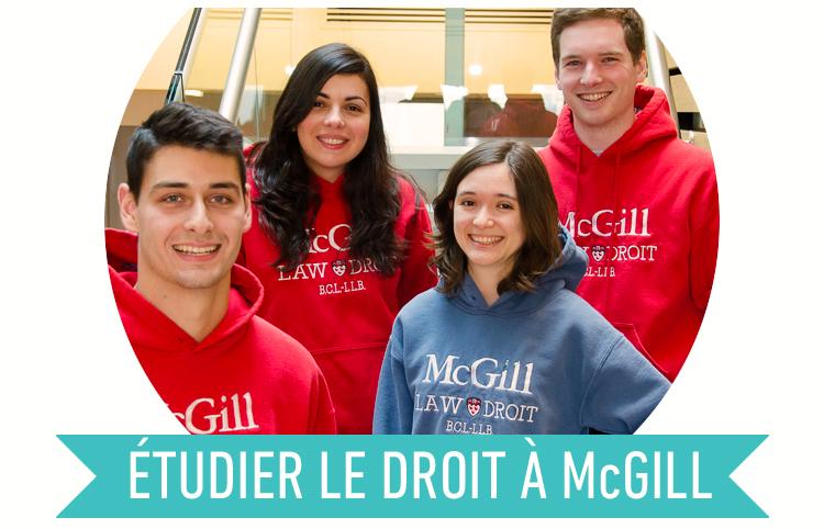 Étudier le droit à McGill (image d'étudiant-e-s en droit portant leurs chandails McGill Law)