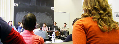 A lively discussion between students and professors during a Panel on law pedagogy