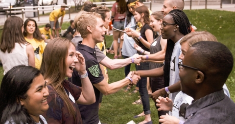 Students meeting on the front lawn during Orientation activities