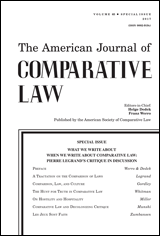 Special Issue: What We Write About When We Write About Comparative Law: Pierre Legrand's Critique in Discussion
