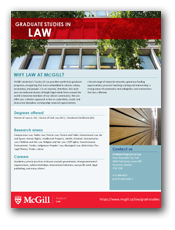 Brochure for our Graduate Programs (LLM, DCL) in Law