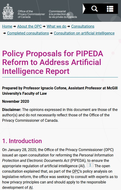 Ignacio Cofone: Policy Proposals for PIPEDA Reform to Address Artificial Intelligence
