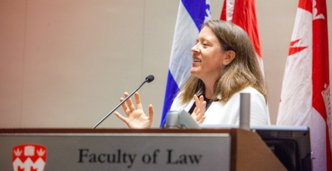 Professor Allison Christians, who holds the Stikeman Chair in Tax Law, speaking at a seminar in the Maxwell Cohen Moot Court.