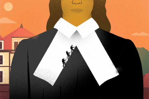 Detail of the Focus Law | Droit magazine cover for Winter 2020-2021: Illustration of a woman of colour wearing lawyer tabs; behind her one can glimpse Old Chancellor Day Hall. Her tabs form a steep mountain being ascended by three climbers in black silhouette.