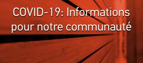 COVID-19: informations pour la communauté de la Faculté de droit