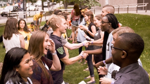 First year students meeting on Welcome Day