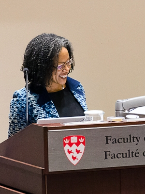 Adelle Blackett giving her inaugural conference as Canada Research Chair in Transnational Labour Law and Development
