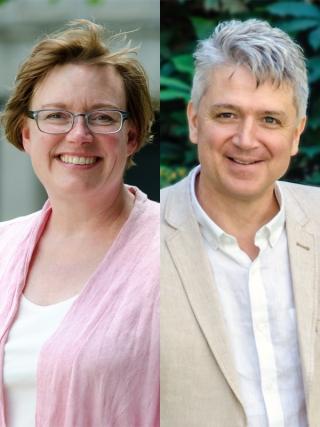 Professor Andrea Bjorklund and Professor Fabien Gélinas.  Photos by Lysanne Larose.