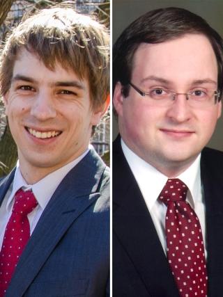 Guillaume Laganière et Ghyslain Raza [deux hommes blancs en complet et cravate rouge]