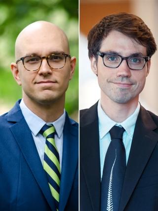 À gauche: Sébastien Jodoin. À droite: Jonas-Sébastien Beaudry [deux jeunes hommes blancs en complet cravate et lunettes]